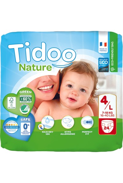 Tidoo Antialerjik-Ekolojik Bebek Bezi No:4 Maxi Single 7-18 kg