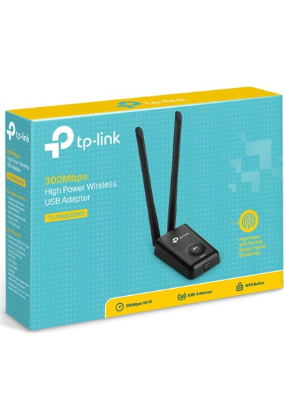 TP-LINK TL-WN8200ND 300 Mbps N Kablosuz 2x5dBi Değiştirilebilir Antenli WPS/Soft AP Yüksek Kazanımlı USB Adaptör