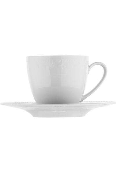 Kütahya Porselen Silvia 6 Kişilik 12 Parça Kahve Fincan Takımı Sade