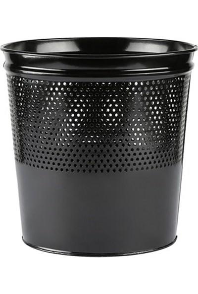 Peronline Nrlx Ofis Tipi Konik Yarım Delikli Çöp Kovası Siyah