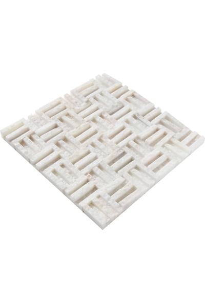 Doğal Dekor Vesrace 1X48MM Beyaz Simli Mermer Patlatma Taş Dekoratif Duvar Kaplama Fileli Mozaik