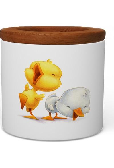 Wuw Tatlı Ördekler Ahşap Kapaklı Seramik Kalemlik