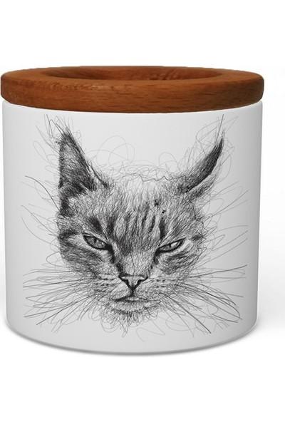 Wuw Kedi Ahşap Kapaklı Seramik Kalemlik