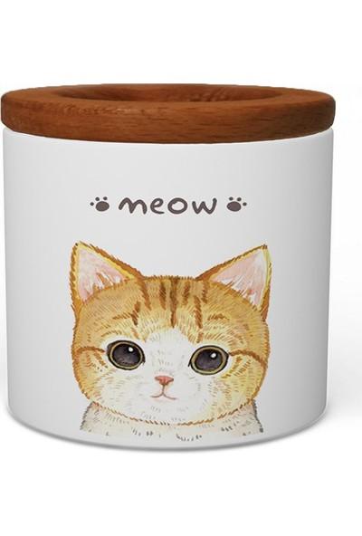 Wuw Meow Kedi Ahşap Kapaklı Seramik Kalemlik