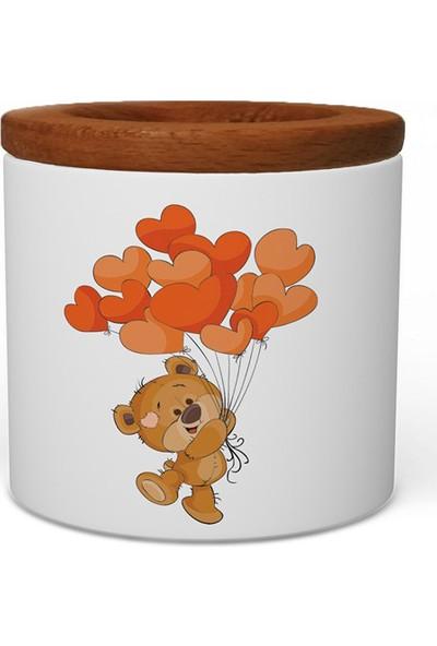 Wuw Kalp Balonlu Ayıcık Ahşap Kapaklı Seramik Kalemlik
