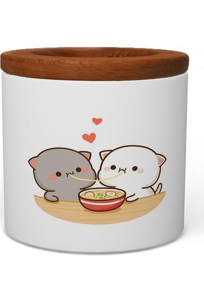 Wuw Spagetti Cats Ahşap Kapaklı Seramik Kalemlik