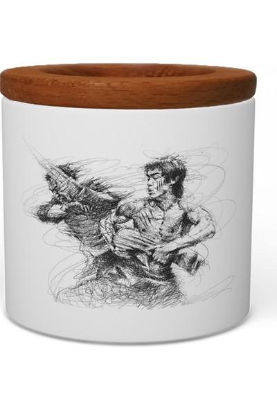 Wuw Bruce Lee Ahşap Kapaklı Seramik Kalemlik