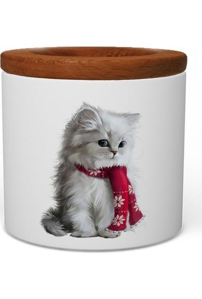 Wuw Yavru Kedi Ahşap Kapaklı Seramik Kalemlik