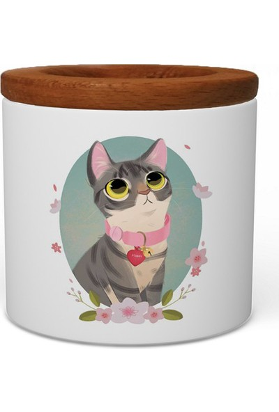 Wuw Utangaç Kedi Ahşap Kapaklı Seramik Kalemlik