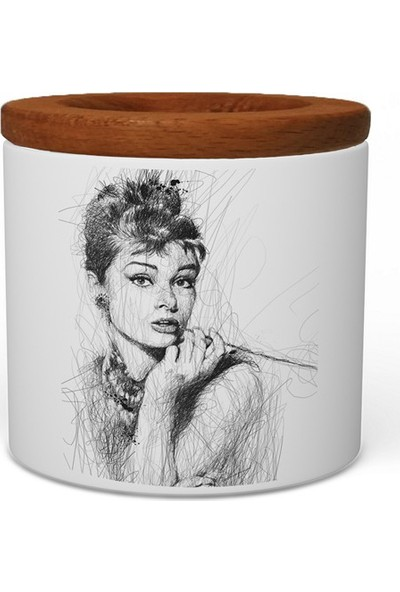 Wuw Audrey Hepburn Ahşap Kapaklı Seramik Kalemlik