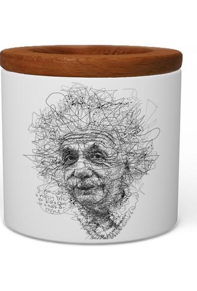 Wuw Einstein Ahşap Kapaklı Seramik Kalemlik