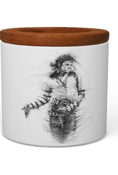 Wuw Michael Jackson Ahşap Kapaklı Seramik Kalemlik