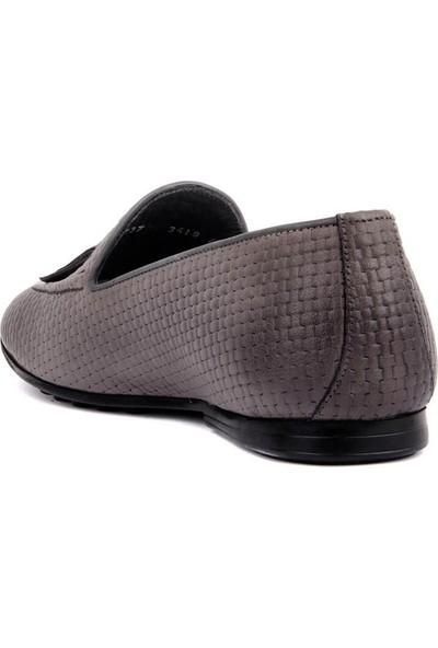 Sail Laker's Gri Deri Hasırlı Erkek Günlük Ayakkabı