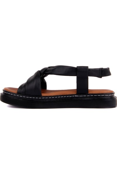 Pierre Cardin Siyah Deri Kadın Sandalet