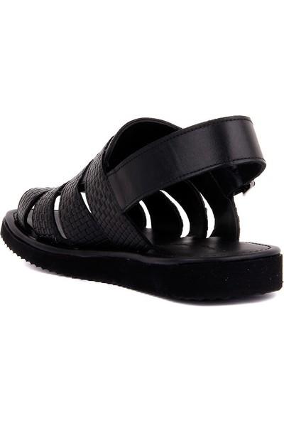 Sail Laker's Siyah Deri Erkek Sandalet