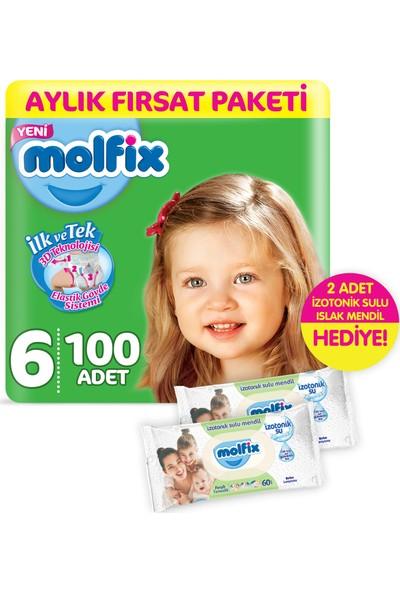 Molfix 3D E.Large 100 Adet Bebek Bezi + 2 Adet İzotonik Sulu Islak Mendil Ferah Temizlik