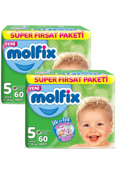 Molfix 3D Junior 120 Adet Bebek Bezi + 2 Adet İzotonik Sulu Islak Mendil Ferah Temizlik