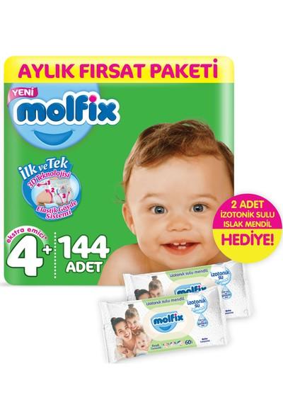 Molfix 3D Maxi Plus Bebek Bezi 144 Adet + 2 Adet İzotonik Sulu Islak Mendil Ferah Temizlik