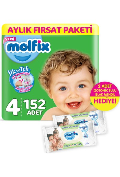 Molfix 3D Maxi 152 Adet Bebek Bezi + 2 Adet İzotonik Sulu Islak Mendil Ferah Temizlik