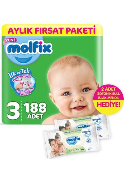 Molfix 3D Midi 188 Adet Bebek Bezi + 2 Adet İzotonik Sulu Islak Mendil Ferah Temizlik
