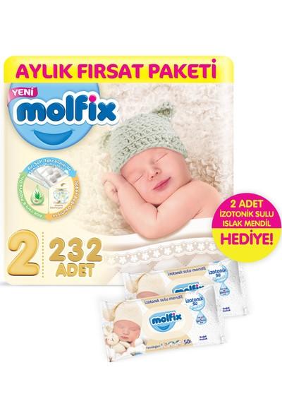 Molfix Mini 232 Adet Bebek Bezi + 2 Adet İzotonik Sulu Islak Mendil Yenidoğan