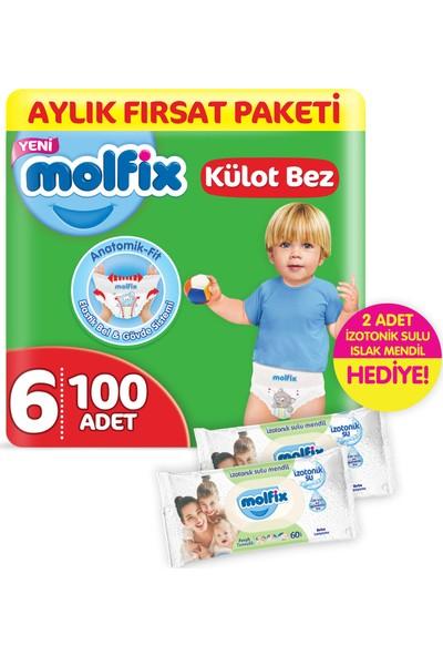 Molfix Külot Bez Extra Large 100 Adet + 2 Adet İzotonik Sulu Islak Mendil Ferah Temizlik