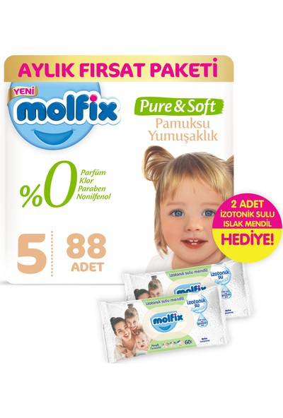 Molfix Pure and Soft Bebek Bezi Junior 88 Adet + 2 Adet İzotonik Sulu Islak Mendil Ferah Temizlik