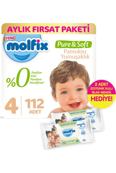 Molfix Pure and Soft Bebek Bezi Maxi 112 Adet + 2 Adet İzotonik Sulu Islak Mendil Ferah Temizlik