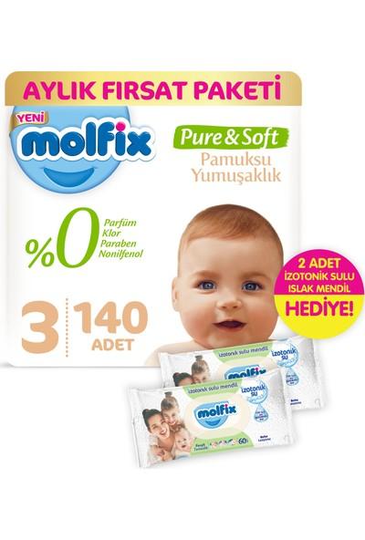 Molfix Pure and Soft Bebek Bezi Midi 140 Adet + 2 Adet İzotonik Sulu Islak Mendil Ferah Temizlik
