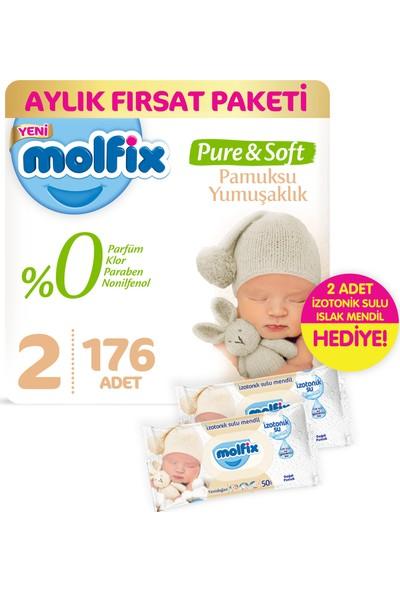 Molfix Pure and Soft Bebek Bezi Mini 176 Adet + 2 Adet İzotonik Sulu Islak Mendil Yenidoğan
