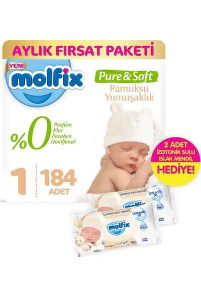 Molfix Pure and Soft Bebek Bezi Yeni Doğan 184 Adet + 2 Adet İzotonik Sulu Islak Mendil Yenidoğan
