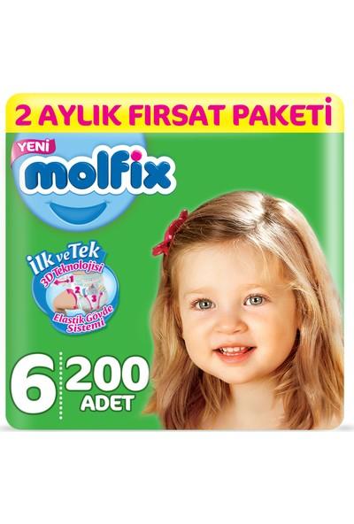 Molfix 3D Bebek Bezi 6 Beden Extralarge 2 Aylık Fırsat Paketi 200 Adet