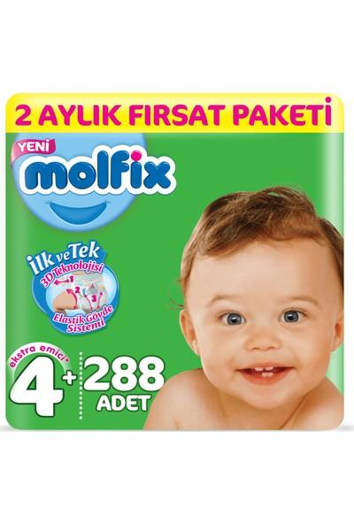 Molfix 3D Bebek Bezi 4+ Beden Maxi Plus 2 Aylık Fırsat Paketi 288 Adet