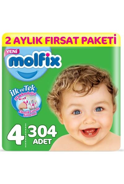 Molfix 3D Bebek Bezi 4 Beden Maxi 2 Aylık Fırsat Paketi 304 Adet