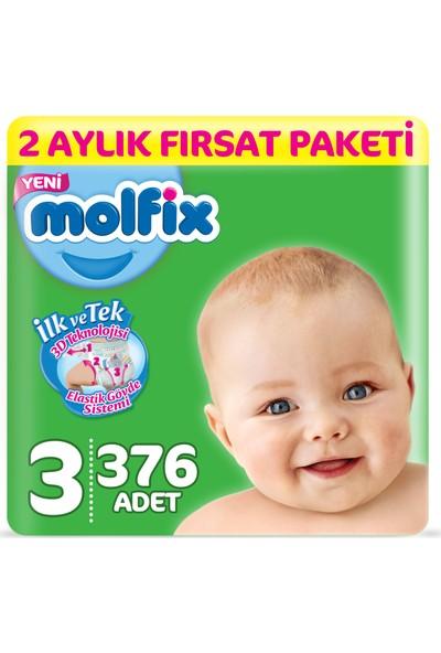 Molfix 3D Bebek Bezi 3 Beden Midi 2 Aylık Fırsat Paketi 376 Adet