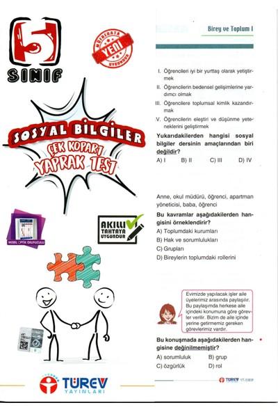 Türev Yayınları 5. Sınıf Sosyal Bilgiler Çek-Kopar Yaprak Test