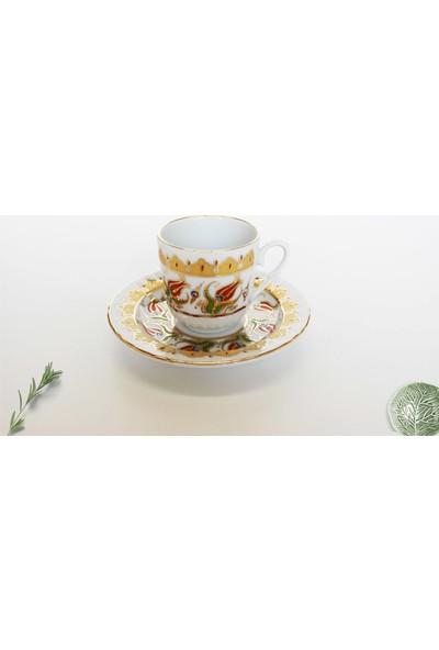Hayal Sepetim Altın Yaldızlı 4 Parça 2 Kişilik Porselen Kahve Takımı - Kadife Kutuda