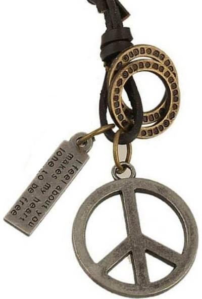 VipBT Peace Barış Deri Erkek Kolye Gümüş Gri