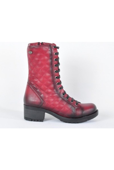 M.P 172-4481 Bordo Bağcıklı Fermuarlı Kadın Bot Ayakkabı