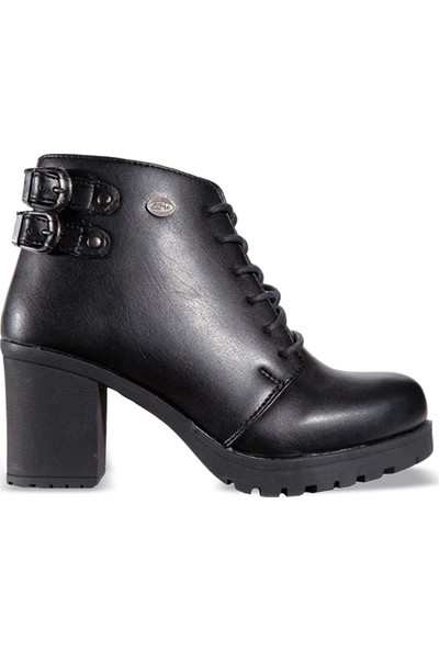 M.P 172-6073 Siyah Deri Fermuarlı Topuklu Kadın Bot