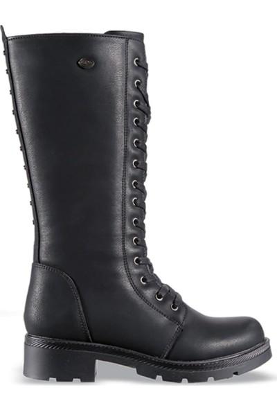 M.P 172-6081 Siyah Kauçuk Kadın Uzun Çizme Bot Ayakkabı