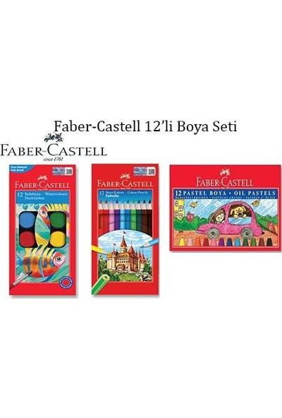 Faber Castell 3'lü Boya Seti 12'li Sulu - Kuru ve Pastel Boya