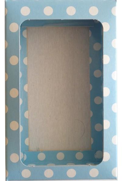 Kolievi Asetat Pencereli Puantiyeli Karton Kutu 13 x 8 x 3 cm 50'li Mavi