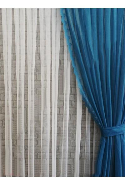 Caserta Home Sık Pileli 1/3 Grek 526 Mor Tül Fon Perde - 90 x 200 cm