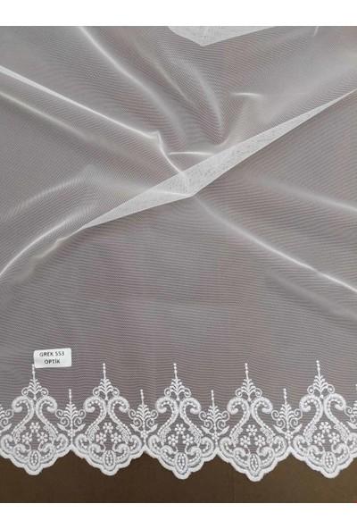 Caserta Home Orta Pile 1/2,5 Grek 553 Beyaz Tül Fon Perde - 60 x 200 cm