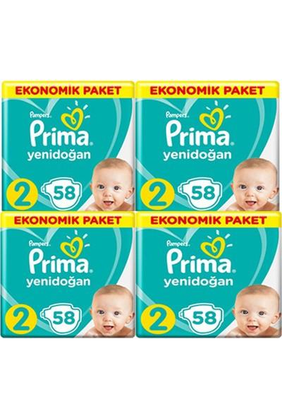 Prima Aktif Bebek Mini 2 Beden Ekonomik 58 x 4 232'li Bebek Bezi