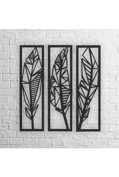 Karaçam Dekor Dekoratif Ahşap Tablo - Üç Parçalı Yaprak Lazer Kesim