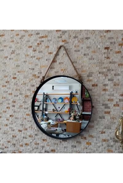 Karaçam Dekor Dekoratif Yuvarlak Metal Çerçeve Halat Askılı Ayna