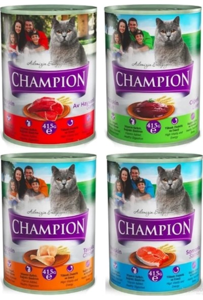 Champion Konserve Yaş Kedi Maması Karışık 415 g 48 Adet