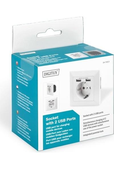 Digitus DA-70613 Sıva Altı Priz 2x USB Port 1x Topraklı Fiş Yuvası